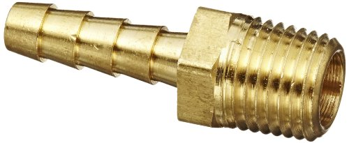 Anderson Metals 57001-0404 Brass Hose Fitting, Adapter, 1/4' Barb x 1/4' NPT Male Pipe