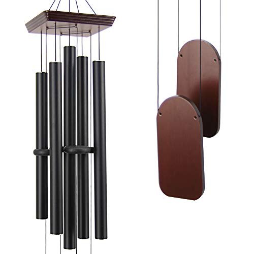 ASTARIN Large Wind Chimes Outdoor Deep Tone, 48 Inch Wind Chime Sympathy with 5 Big Aluminum Tubes Tuned Soothing Melody,Memorial Wind Chimes Unique for Patio, Garden, Yard, Porch Decor