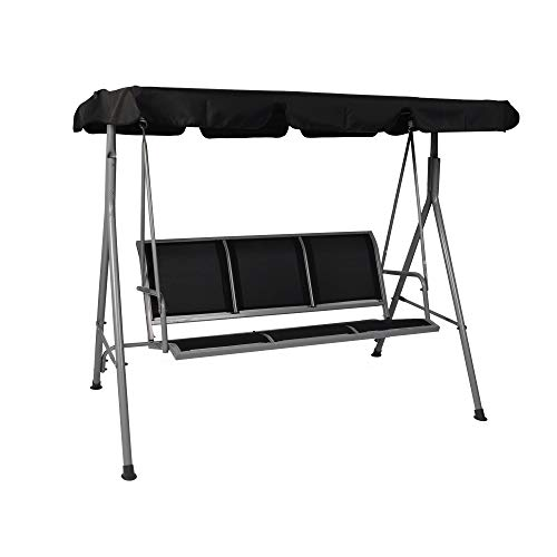 Vilobos Porch Swing with Powder Coated Steel Frame Outdoor 2-3 Person Patio Swing Chair with Angle Adjustable Polyester Canopy Suitable for Garden, Poolside, Balcony (Black)