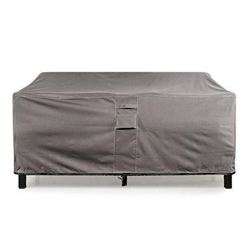 KHOMO GEAR Large GER-1037 Waterproof Heavy Duty Outdoor Lounge Loveseat Sofa Patio Cover, (88'' x 32.5'' x 33'), Titan Series (Grey)