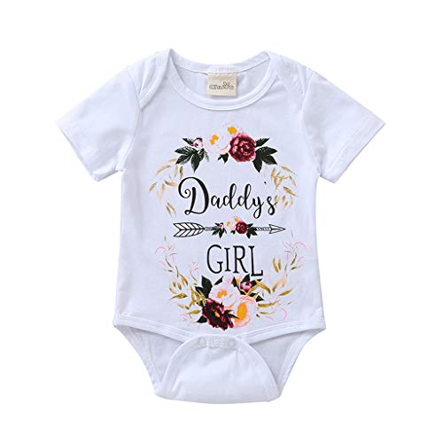 Zlolia Toddler Boys&Girls Daddy's Girl Letter Print Solid Cotton Short Sleeve T-Shirt Kids Fashion Clothes White