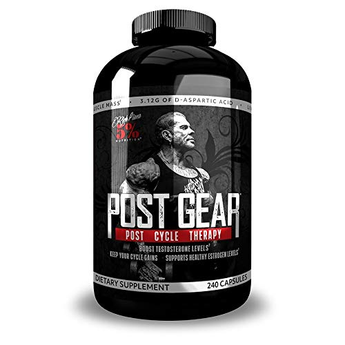 Rich Piana 5% Nutrition Post Gear PCT Support, Post Cycle Therapy Testosterone Booster Supplement for Men, Estrogen Blocker, Liver Health with Milk Thistle, 240 Capsules (30 Day Supply)