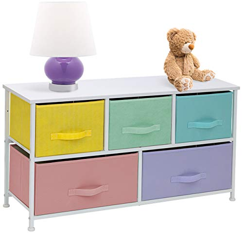Sorbus Dresser with 5 Drawers - Furniture Storage Chest for Kids, Teens, Bedroom, Nursery, Playroom, Clothes, Toys - Steel Frame, Wood Top, Fabric Bins (Pastel/White)