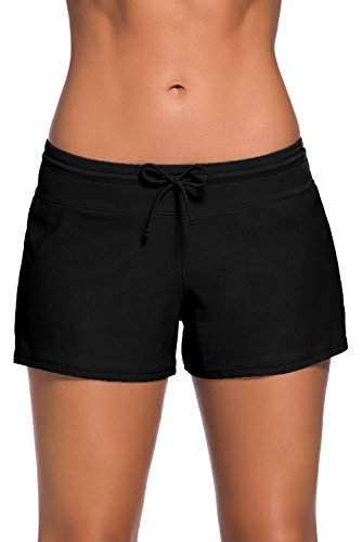 Aleumdr Women's Swim Boardshort Bottom Shorts Swimming Panty Small Black