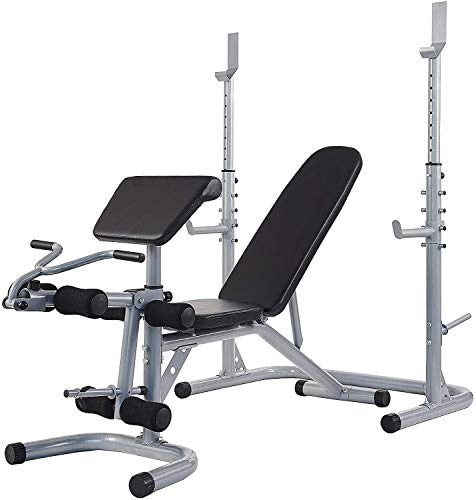 Gnogwa Multifunctional Workout Station Adjustable Olympic Workout Bench with Squat Rack, Leg Extension, Preacher Curl, and Weight Storage, 800-Pound Capacity