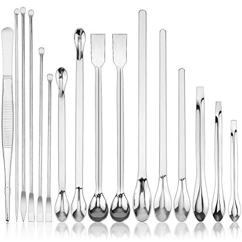 16 Pieces Stainless Steel Lab Spatula Micro Scoop Tweezers Set Laboratory Sampling Spoon Mixing Spatula for Powders