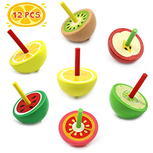 12Pcs Wooden Fruit Colorful Spinning Tops, Classic Wooden Multicolor Non-Toxic Painted Gyroscope, Kids, Novelty Cute Spin Toys, Birthday Party Favors, Kindergarten Educational Game Toys