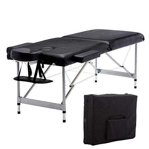 Artechworks Lightweight Massage Table with Aluminium Frame, 2 Fold Beauty Therapy Bed w/Free Carry Case, Face Cradle, Arm Rests (Black)