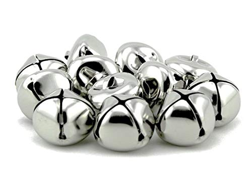 Pack of 50 pcs 1 Inch Christmas Jingle Bells for Holiday Decoration and DIY Craft Bells (Silver)