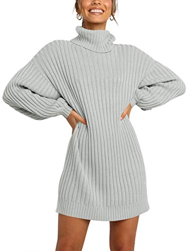 Margrine Womens Turtleneck Long Sleeve Elasticity Chunky Bodycon Knit Pullover Sweaters Dress Jumper Gray M2A40-yinyinhui-S