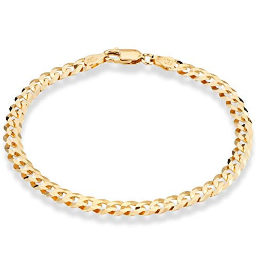 Miabella 18K Gold Over Sterling Silver Italian 5mm Solid Diamond-Cut Cuban Link Curb Chain Bracelet for Men Women, 6.5, 7, 8, 9 Inch 925 Made in Italy (8.00 Inch)