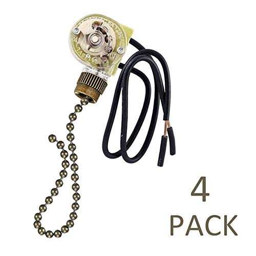 Fan-Light Switch & Pull Chain, Electrical Pull Chain Switch,ON-Off Switch (Bronze Pull Chain) 4 Pack