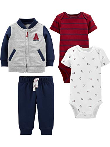 Simple Joys by Carter's Boys' 4-Piece Fleece Jacket, Pant, and Bodysuit Set, Blue/Red, 24 Months
