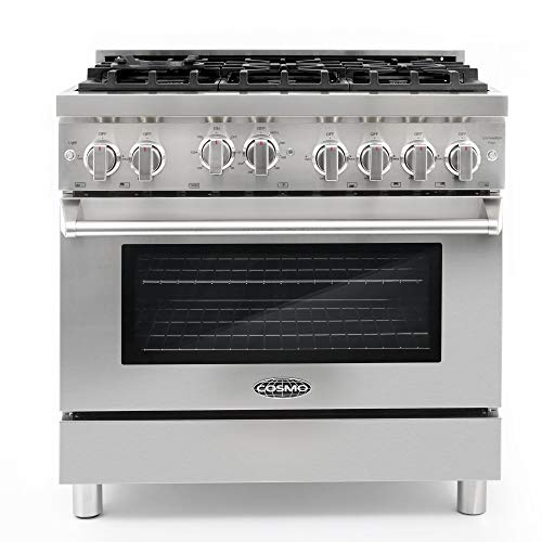 Cosmo GRP366 36 in Freestanding Gas Range | 6 Sealed Burner Rangetop, Single Convection Oven with Light, Cast Iron Grate Cooktop Wok Attachment, Metal Stove Heat Control Knobs, Stainless Steel