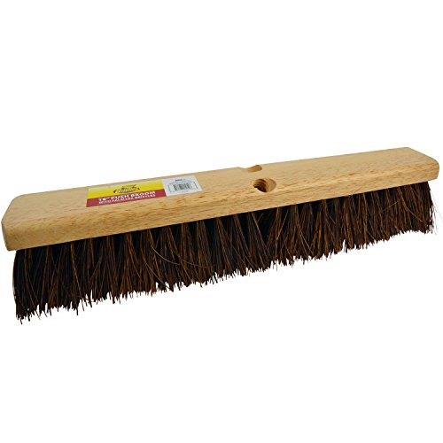Bristles 4218 18 Outdoor Push Broom Head  Heavy Duty Hardwood Block, Rough Surface Stiff Palmyra Fibers, Brown