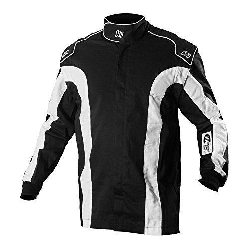 K1 Race Gear Triumph 2 Single Layer SFI-1 Proban Cotton Fire Jacket (Black/White, XX-Large)