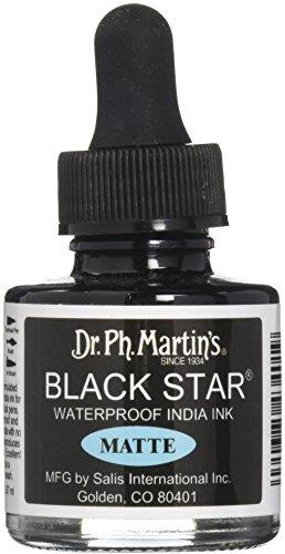 Dr. Ph. Martin's 400034-XXX Black Star India Ink, 1.0 oz, Black, Matte