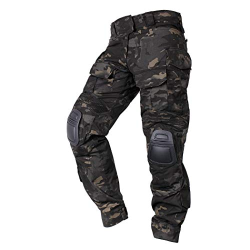 IDOGEAR Men G3 Combat Pants Multicam Camouflage with Knee Pads Airsoft Hunting Paintball Tactical Outdoor Trousers (Multicam Black, XLarge (36W/33L))