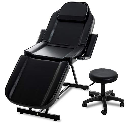 Nurxiovo 73 inches Convertible Massage Table w/Stool, Portable Commercial Salon SPA Beauty Facial Bed Tattoo Chair with Adjustable Removable Headrest Face Craddle Reversible Armrests Towel Holder