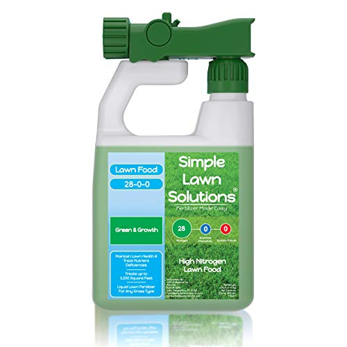 Maximum Green & Growth- High Nitrogen 28-0-0 NPK- Lawn Food Quality Liquid Fertilizer- Spring & Summer- Any Grass Type- Simple Lawn Solutions, 32 Ounce- Concentrated Quick & Slow Release Formula
