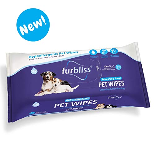 Furbliss Hygienic Pet Wipes for Dogs & Cats, Cleansing Grooming & Deodorizing Hypoallergenic Thick Wipes with All Natural Deoplex Deodorizer 100ct Pack, Refreshing Scent