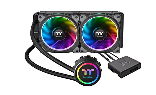 Thermaltake Floe Dual Ring RGB 240 TT Premium Edition PWM TR4 AM4 LGA1200 Ready AIO Liquid Cooling System 240mm High Efficiency Radiator CPU Cooler CL-W157-PL12SW-A