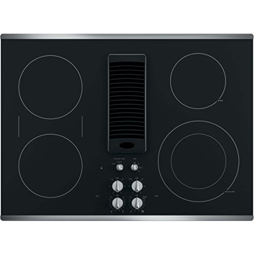 GE Profile Series 30' Downdraft Electric Cooktop Black Glass with Stainless Steel Trim PP9830SJSS