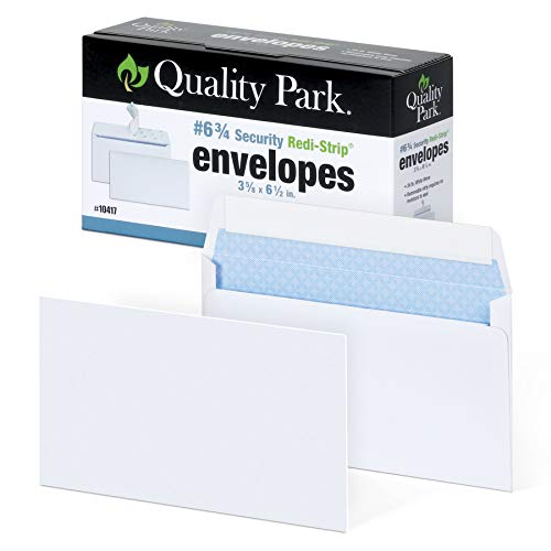 Quality Park #6 3/4 Security-Tinted Envelopes with Peel & Seal, 100-Pack, White  QUA10417