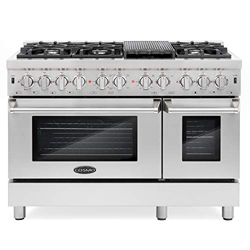 Cosmo DFR486G 48 inch Freestanding Dual Fuel Range   6 Sealed Burner Rangetop, Double Convection Oven with Light, Cast-Iron Grate Stovetop/Griddle, Metal Stove Heat Control in Stainless Steel