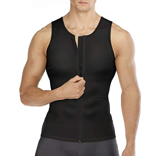 Wonderience Compression Shirts for Men Undershirts Slimming Body Shaper Tank Top Vest with Zipper (Black, X-Large)