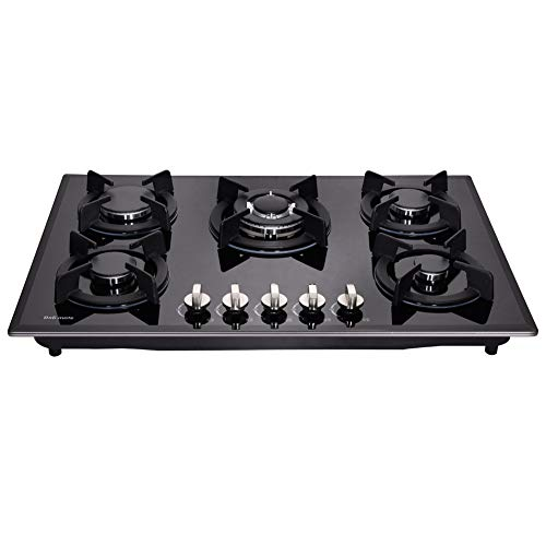 Deli-mate 30' Gas Cooktop Dual Fuel 5 Sealed Burners Gas Hob Tempered Glass Drop-In Gas Stove DM517-SA01 Gas Hob