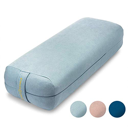 Ajna Yoga Bolster Pillow for Meditation and Support - Rectangular Yoga Cushion - Yoga Accessories from Machine Washable with Carry Handle - Celestite Blue
