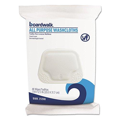 Boardwalk 359W Premoistened Washcloths, 12 1/2 x 7 9/10, Fresh Scent, 48/Pack, 6 Packs/Carton