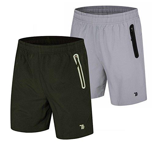 TBMPOY Men's Dry Gym Sports Jogger Shorts Active Hiking Shorts(01,Black+lightgrey,us L)