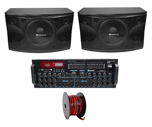Pair Rockville KPS12 12' 1600w Karaoke Speakers+Bluetooth Pro Amplifier Mixer