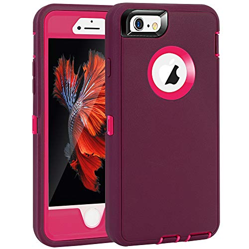 iPhone 6 Plus/6S Plus Case, Maxcury Heavy Duty Shockproof Series Case for iPhone 6 Plus /6S Plus (5.5') with Built-in Screen Protector Compatible with All US Carriers (Wine/Fushcia)