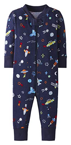 Moon and Back by Hanna Andersson Baby Toddler Kids One Piece Footless Pajamas, Navy, 3T