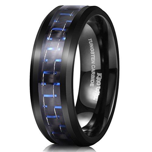 King Will Gentleman Mens 8mm Tungsten Ring Black and Blue Carbon Fiber Inlay High Polish Wedding Band Ring 10.5