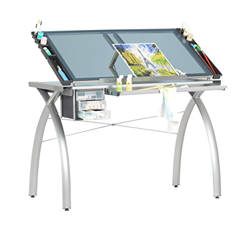 Glass Futura Craft Station in Silver/Blue