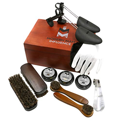 Premium Leather Care Shoe Shine Kit by Modern Man Influence, Brown, Medium
