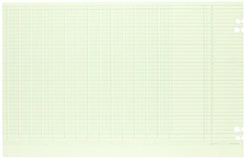 Wilson Jones Green Columnar Sheets, Single Page Format, 14 Columns, 36 Lines Per Page, 11' X 17', 100/Pack, WG50-14B