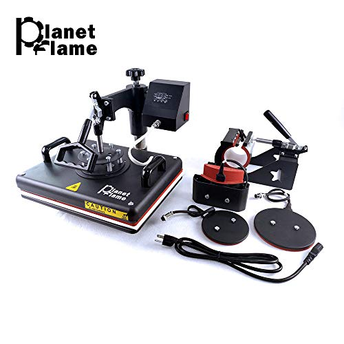 PlanetFlame Factory CE 12'x15' Combo 5 in 1 Heat Press Machine, Sublimation DIY T-Shirt/Hat/Mug/Plate/Cap and More, Swing Away Digital Multifunction Heat Transfer Presses (5in1, 12x15')