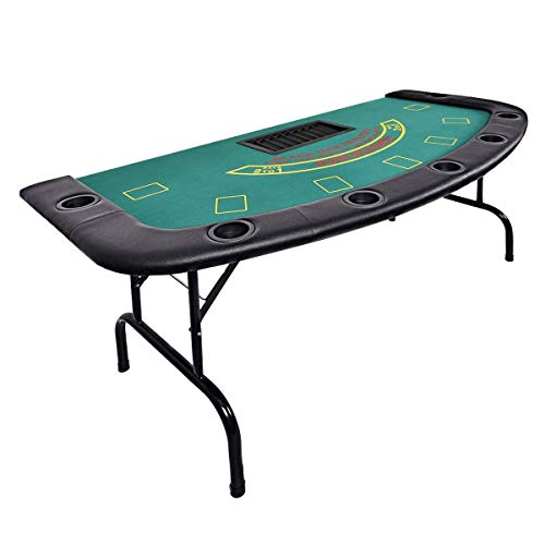 """HAPPYGRILL Poker Table for 7 Players with Chip & 7 Cup Holders, 71.5"""" x 36"""" x 29.5"""" Casino Game Table with Padded Rails, Top Poker Blackjack Table for Playing Cards, Black & Green (Black & Green)"""
