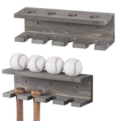 MyGift Wall Mounted Gray Wood Baseball Bat Rack & Ball Storage Shelf, Set of 2