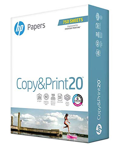 HP Printer Paper 8.5x11 Copy&Print 20 lb 1 Bulk Pack 750 Sheets 92 Bright Made in USA FSC Certified Copy Paper HP Compatible 200030R