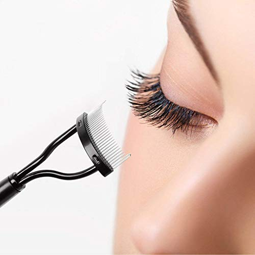 Eyelash Comb Curler Eyebrow Brush MSQ Eyelash Separator Mascara Applicator Eyelash Definer With Comb Cover Arc Designed Cosmetic Brushes Tool Black