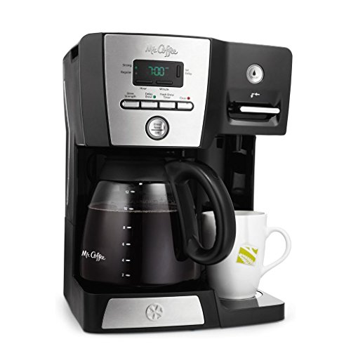 Mr. Coffee BVMC-DMX85 - 12-Cup Programmable Coffeemaker with Integrated Hot Water Dispenser - Black/Chrome