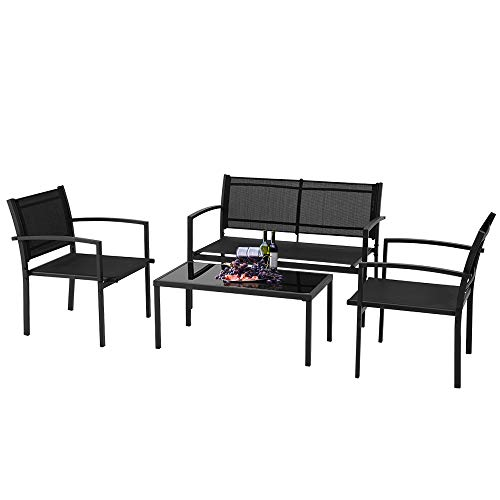 ECOTOUGE 4 Pieces Outdoor Patio Furniture Sets Garden Patio Conversation Sets Chairs with Glass Coffee Table for Garden,Poolside Lawn,Porch, Black
