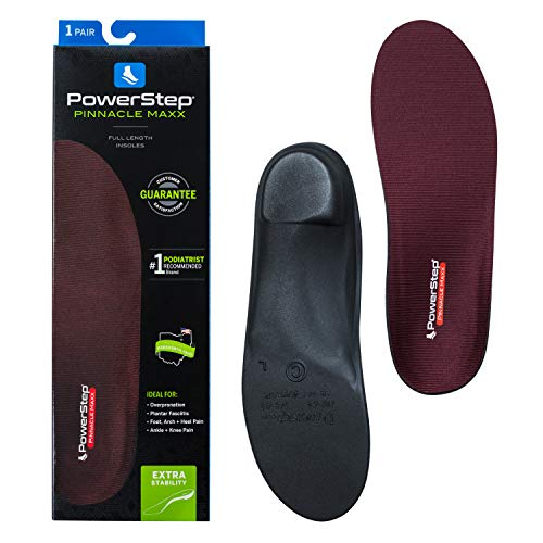 Powerstep Pinnacle Maxx Orthotic Insole Shoe Inserts, Workout Gear for Home Workou, Maroon, Men's 10-10.5, Women's 12