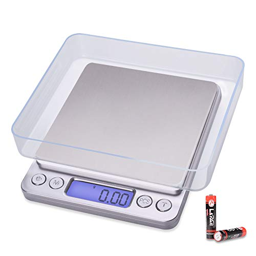 Fuzion Digital Kitchen Scale, 500g/ 0.01g Small Jewelry Scale, Food Scales Digital Weight Gram and Oz, Digital Gram Scale with LCD/Tare Function for Jewelry, Nutritional Intake, Battery Included